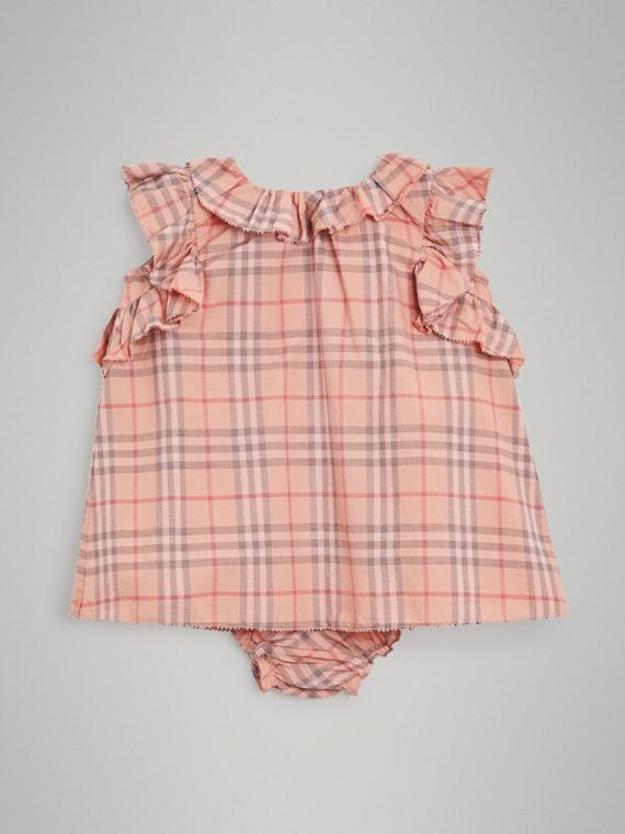 Ruffle Detail Check Cotton Dress with Bloomers in Light Rose