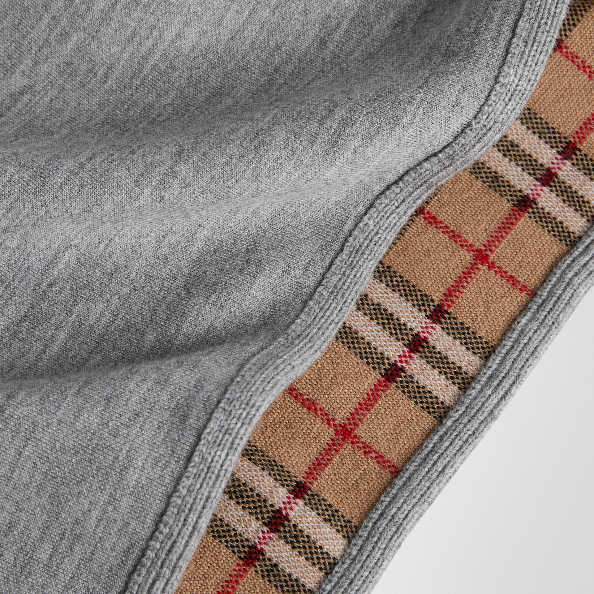 Reversible Check Merino Wool Jacquard Poncho in Grey Melange | Burberry United Kingdom - gallery image 1