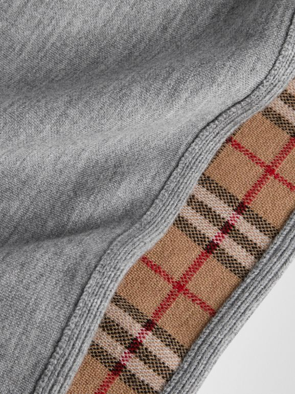 Reversible Check Merino Wool Jacquard Poncho in Grey Melange | Burberry - cell image 1