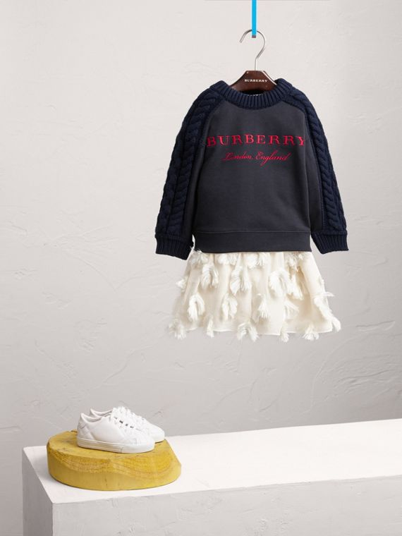 Cable Knit-sleeve Embroidered Cotton Sweatshirt in Navy