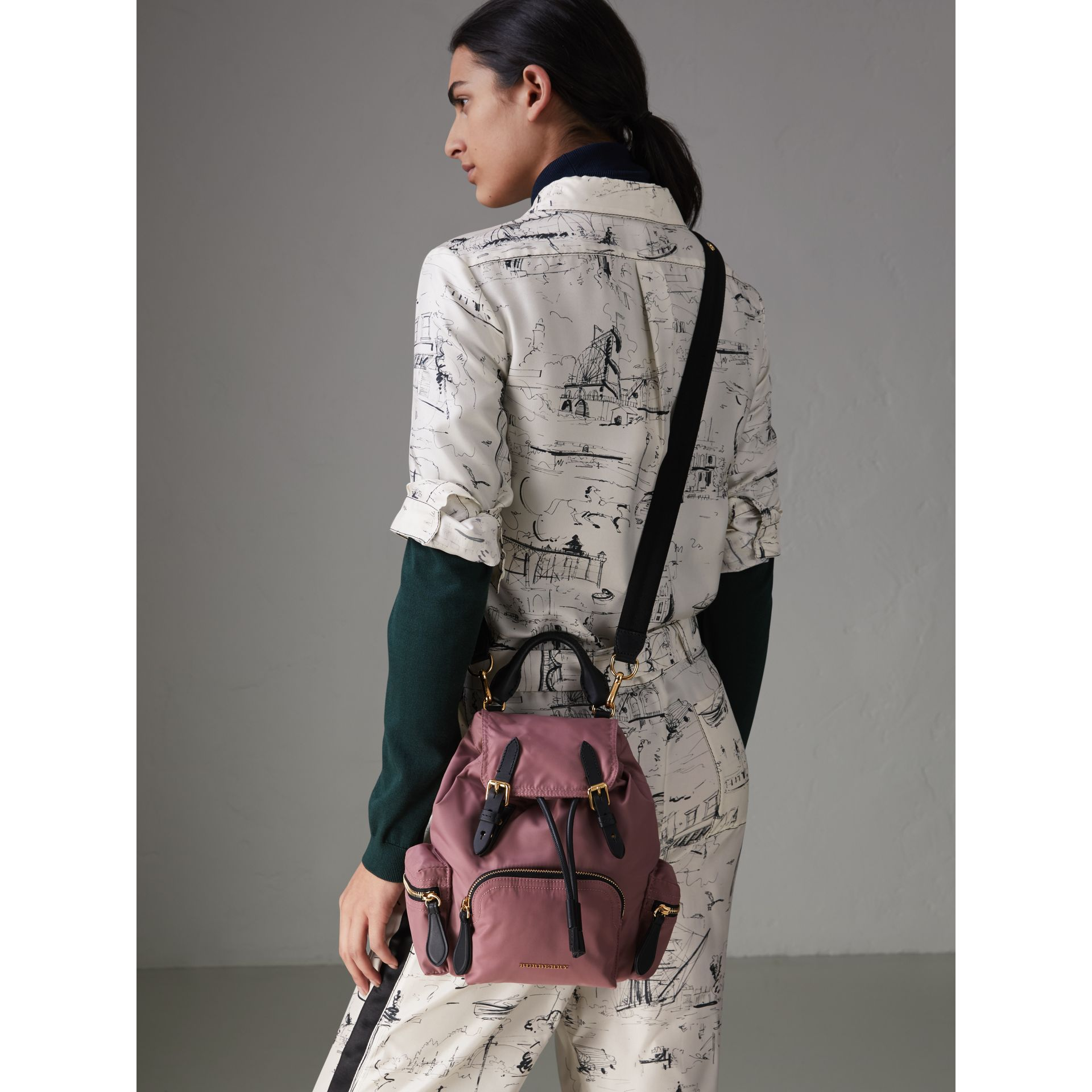 The Crossbody Rucksack in Nylon and Leather in Mauve Pink - Women | Burberry United States - gallery image 3