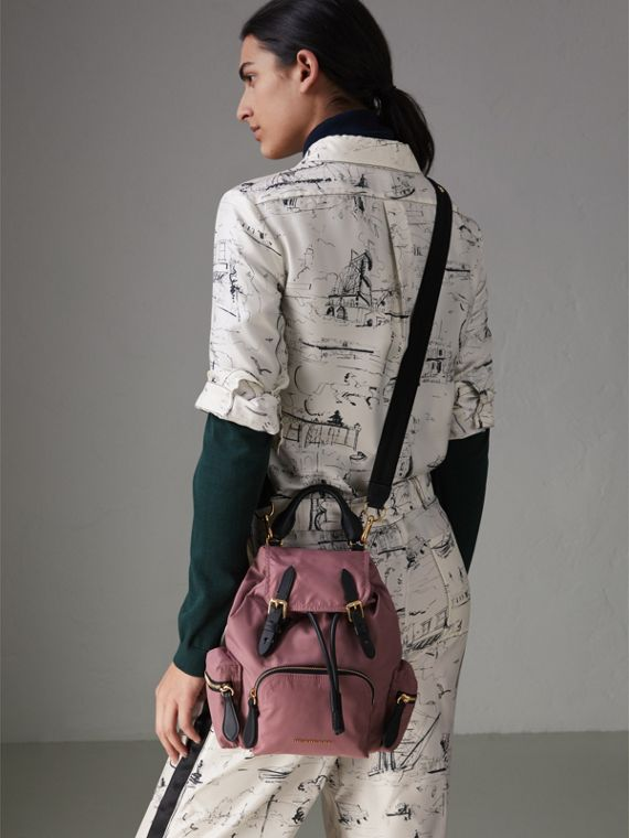 The Crossbody Rucksack in Nylon and Leather in Mauve Pink - Women | Burberry - cell image 3