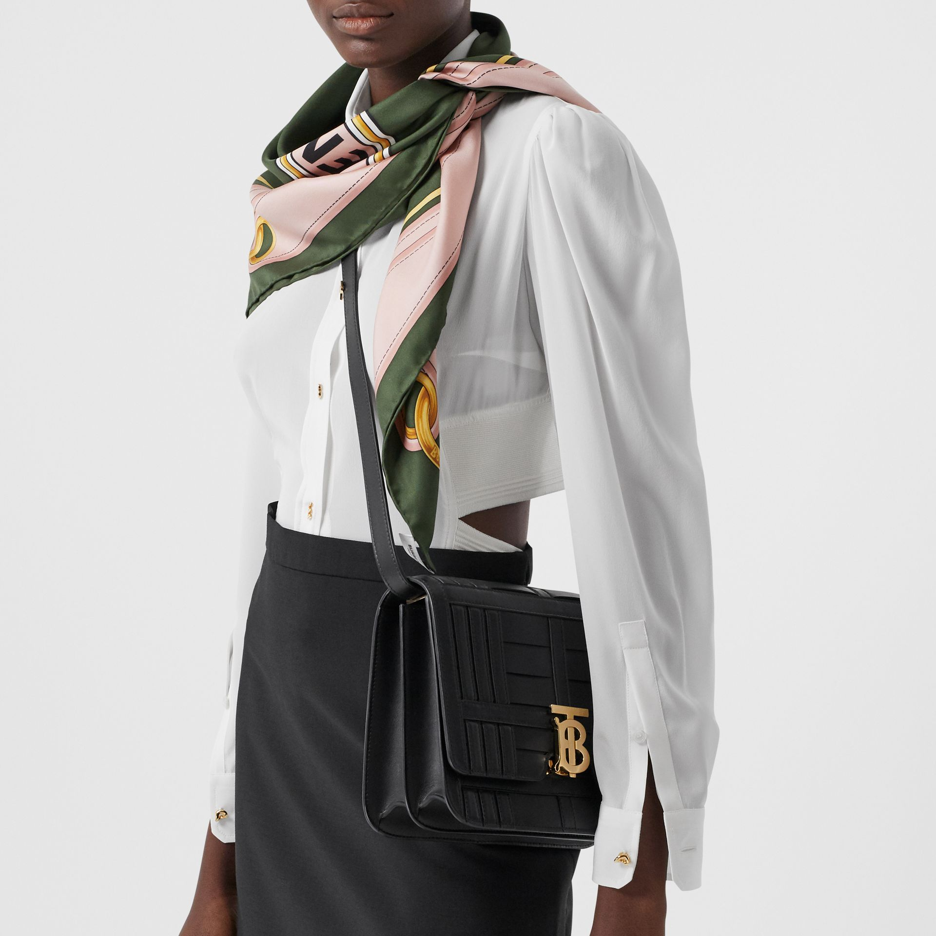 Medium Woven Leather TB Bag in Black - Women | Burberry Hong Kong S.A.R. - gallery image 2