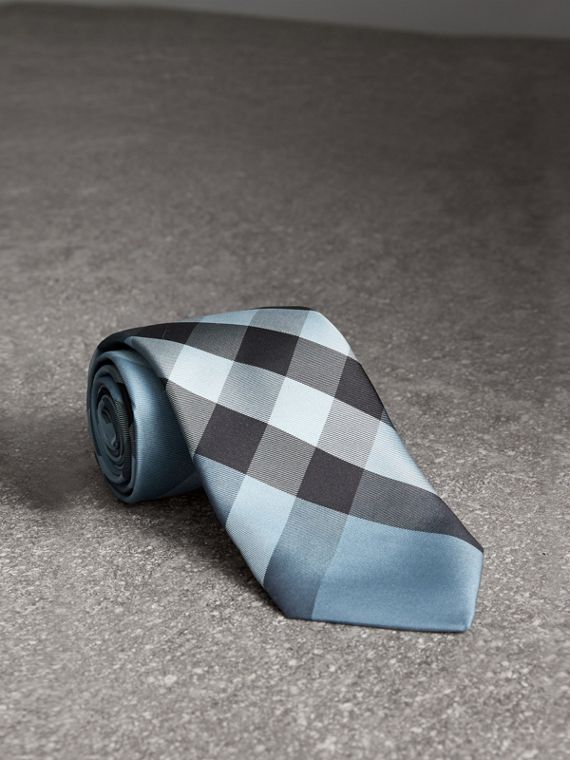 Modern Cut Check Silk Tie in Light Blue