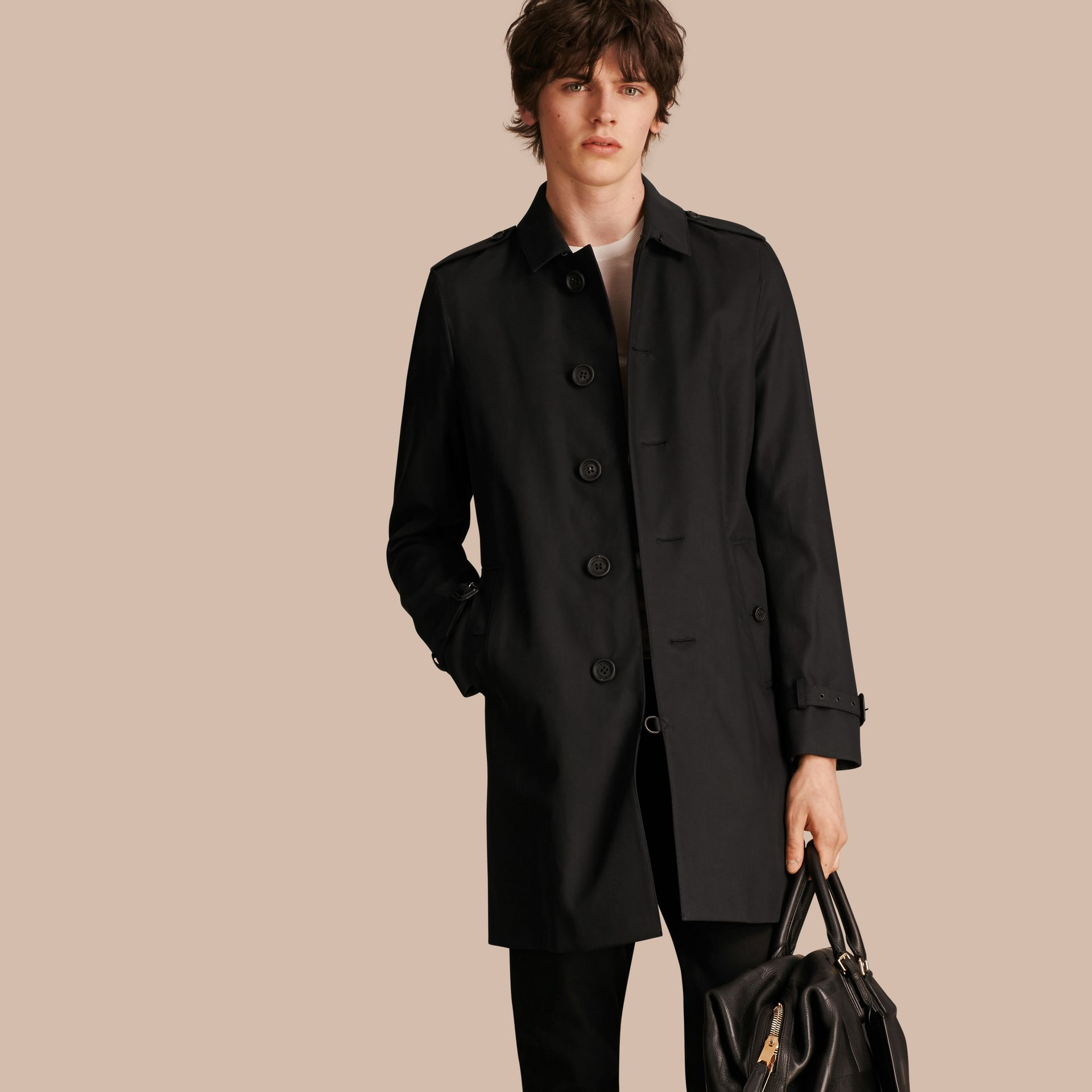 Black Cotton Gabardine Trench Coat - gallery image 1