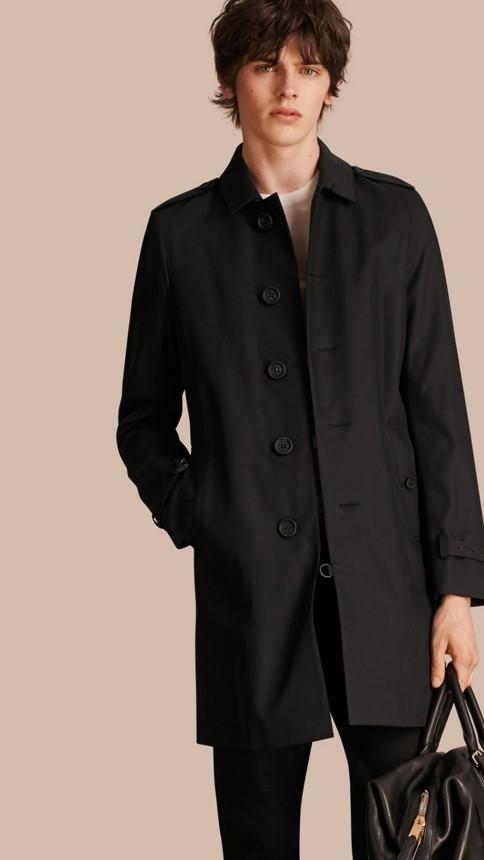 Black Cotton Gabardine Trench Coat - Image 1