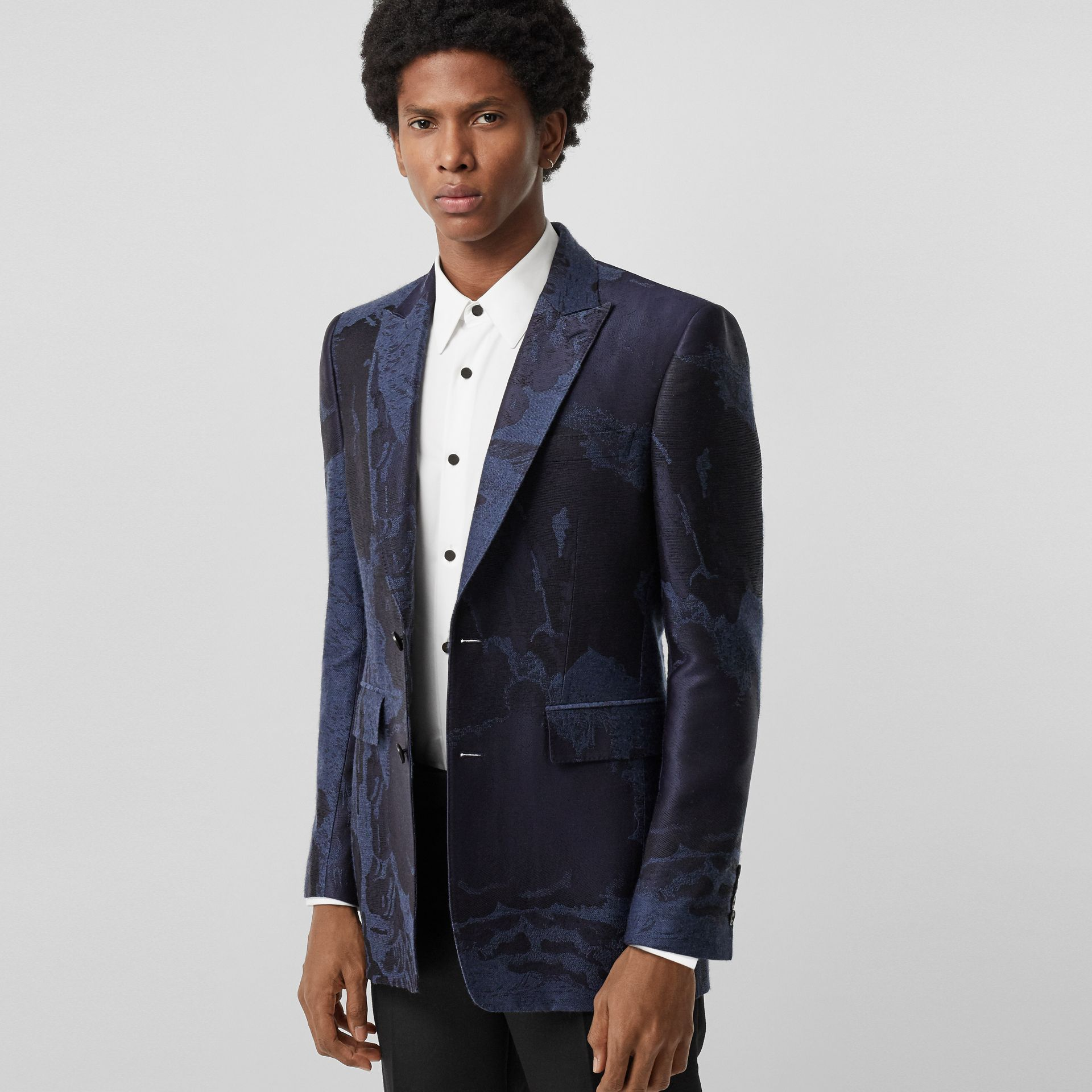 Classic Fit Dreamscape Wool Blend Tailored Jacket in Midnight Blue - Men | Burberry Singapore - gallery image 5
