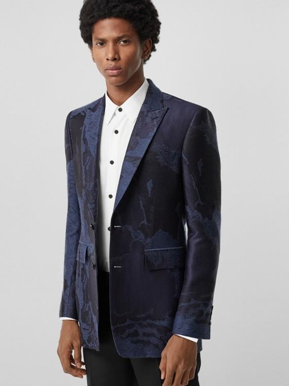 Chaqueta de vestir de corte clásico en mezcla de lana con paisaje de ensueño (Azul  Medianoche)