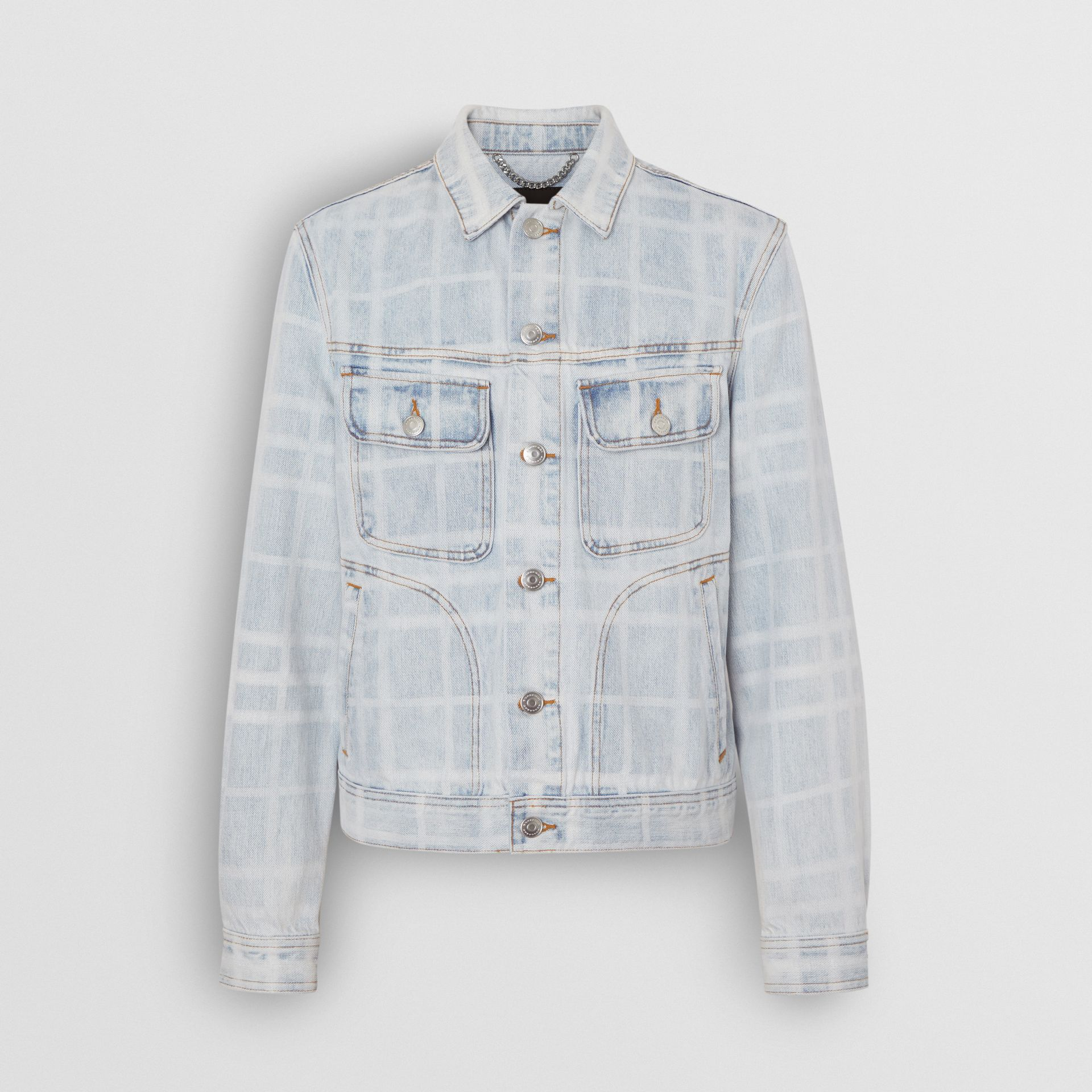 Bleached Check Denim Jacket in Light Indigo - Men | Burberry - gallery image 3