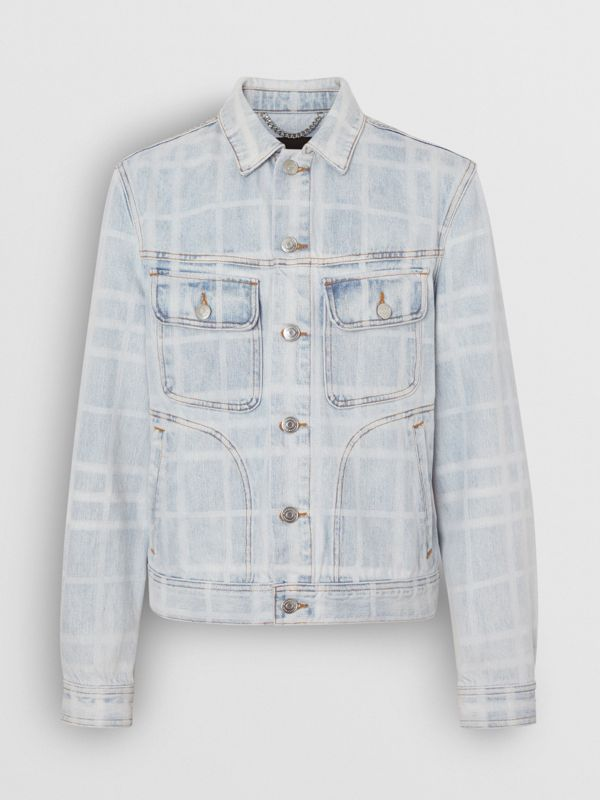 Bleached Check Denim Jacket in Light Indigo - Men | Burberry - cell image 3