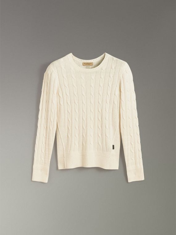Cable Knit Cotton Cashmere Sweater in Chalk White - Men | Burberry - cell image 3