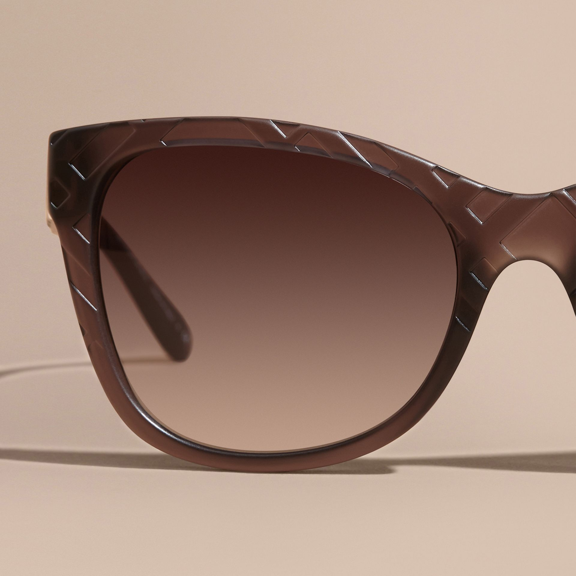 Black 3D Check Square Frame Polarised Sunglasses - gallery image 2
