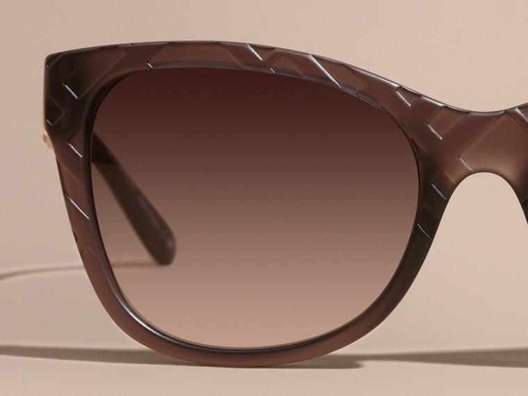 Black 3D Check Square Frame Polarised Sunglasses - cell image 1