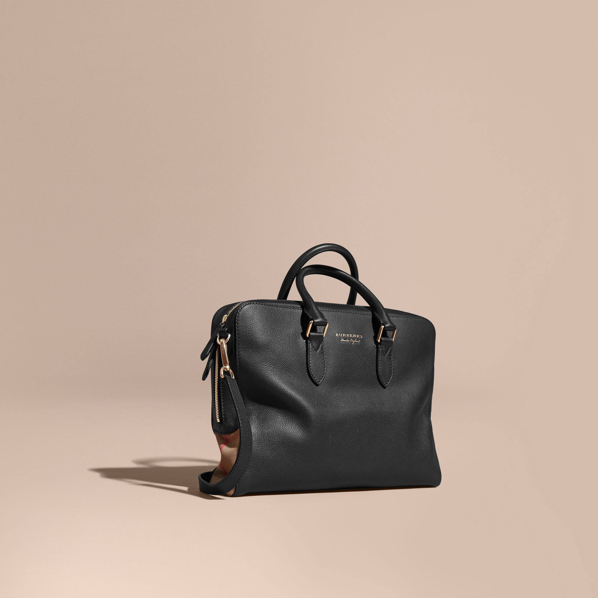 Leather and House Check Briefcase Black - gallery image 1