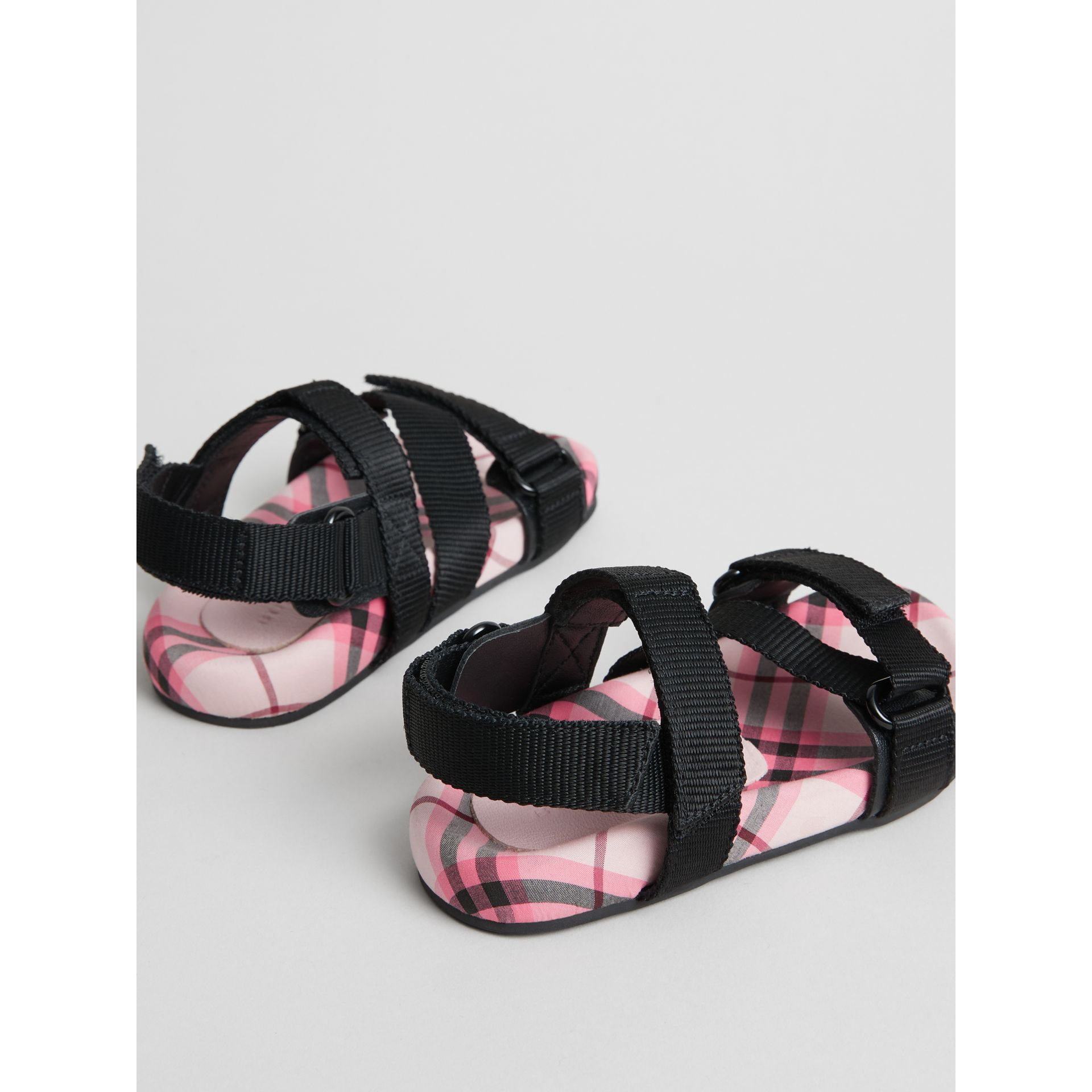 Ripstop Strap Check Cotton Sandals in Bright Rose | Burberry - gallery image 2