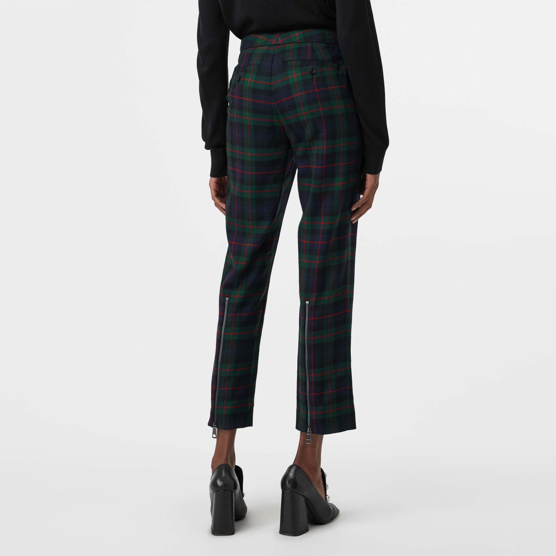 Zip Detail Check Wool Blend Trousers in Navy - Women | Burberry - gallery image 2