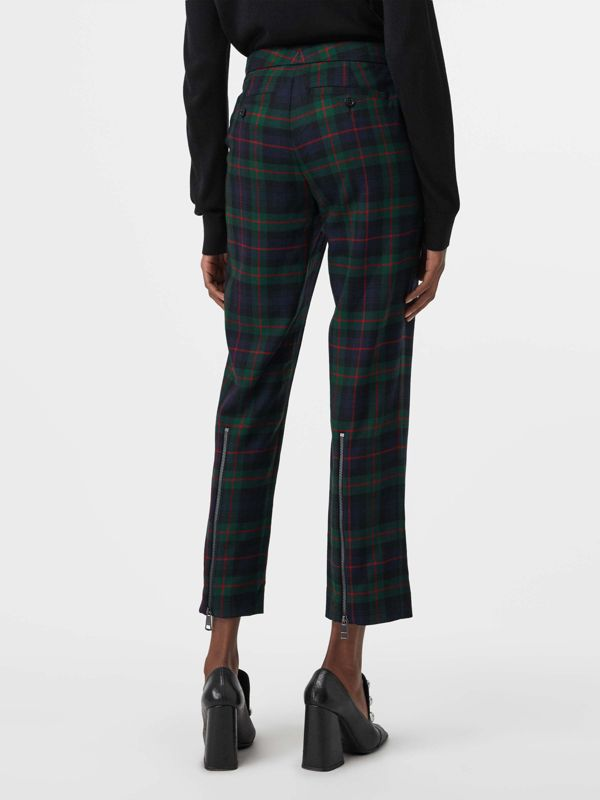 Zip Detail Check Wool Blend Trousers in Navy - Women | Burberry - cell image 2