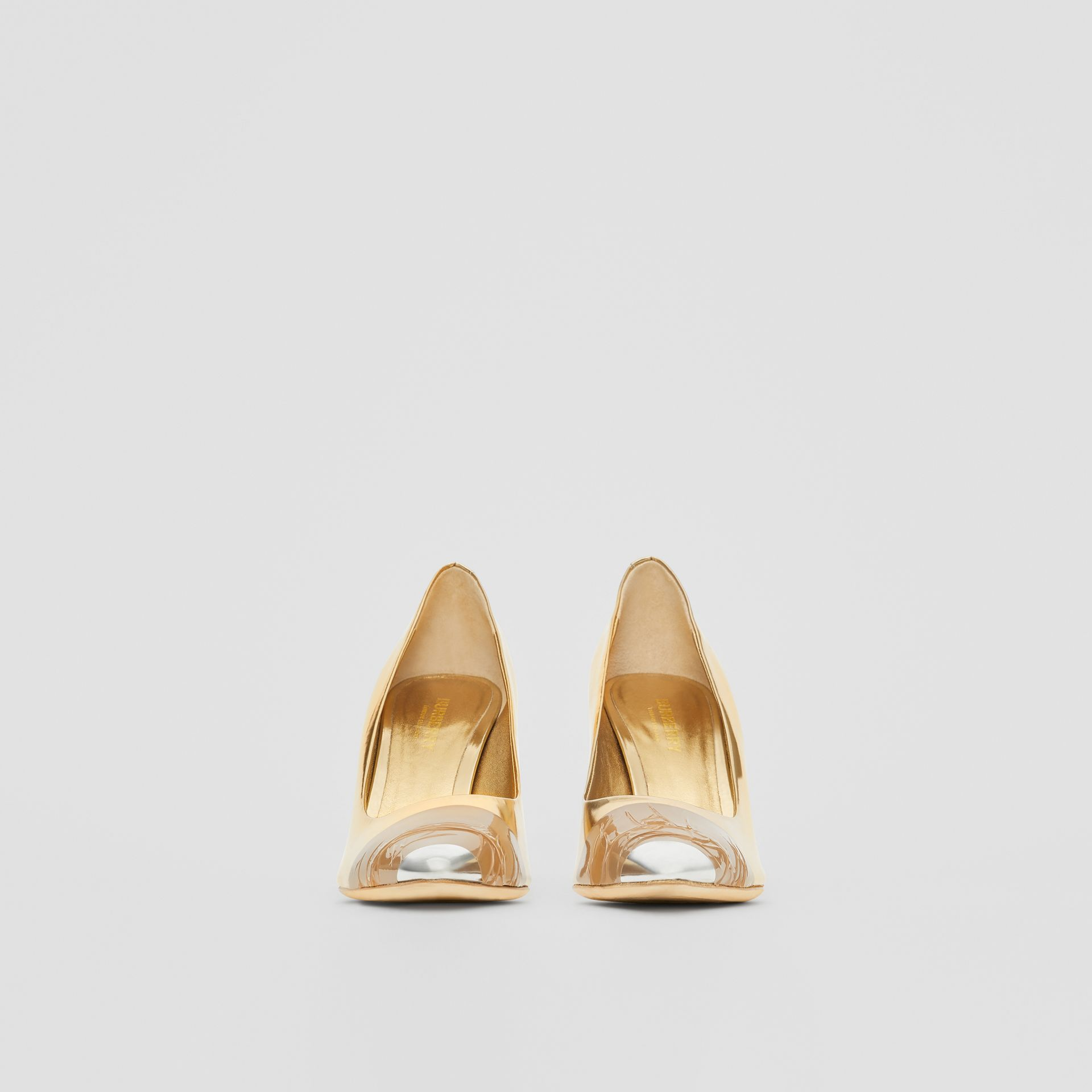 Tape Detail Mirrored Leather Pumps in Gold/silver - Women | Burberry Australia - gallery image 3