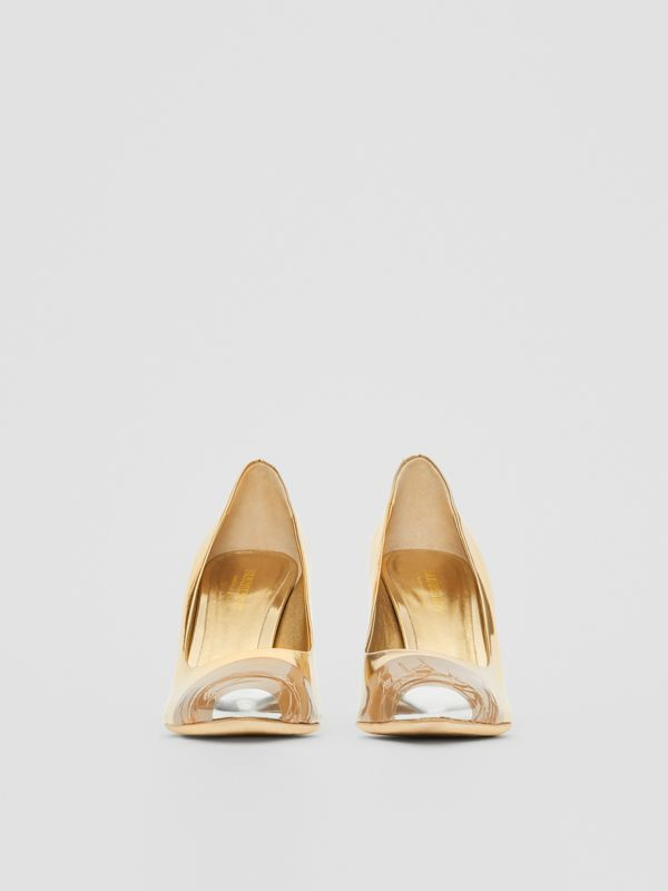 Tape Detail Mirrored Leather Pumps in Gold/silver - Women | Burberry Australia - cell image 3