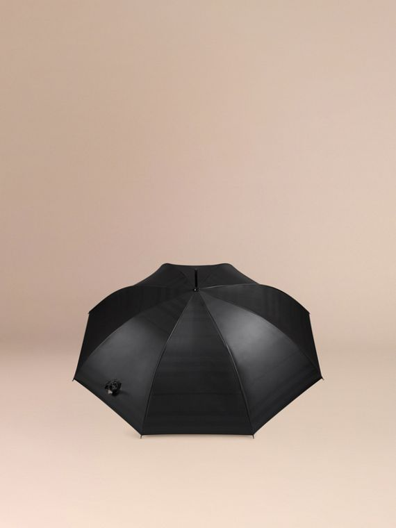 Oversize-Check Lined Walking Umbrella in Black Camel | Burberry - cell image 3