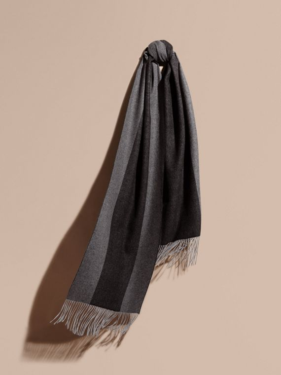 Oversize Striped Cashmere Scarf Charcoal