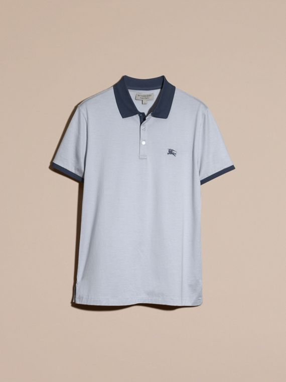 Light blue Fitted Cotton Polo Shirt with Tonal Trim Light Blue - cell image 3