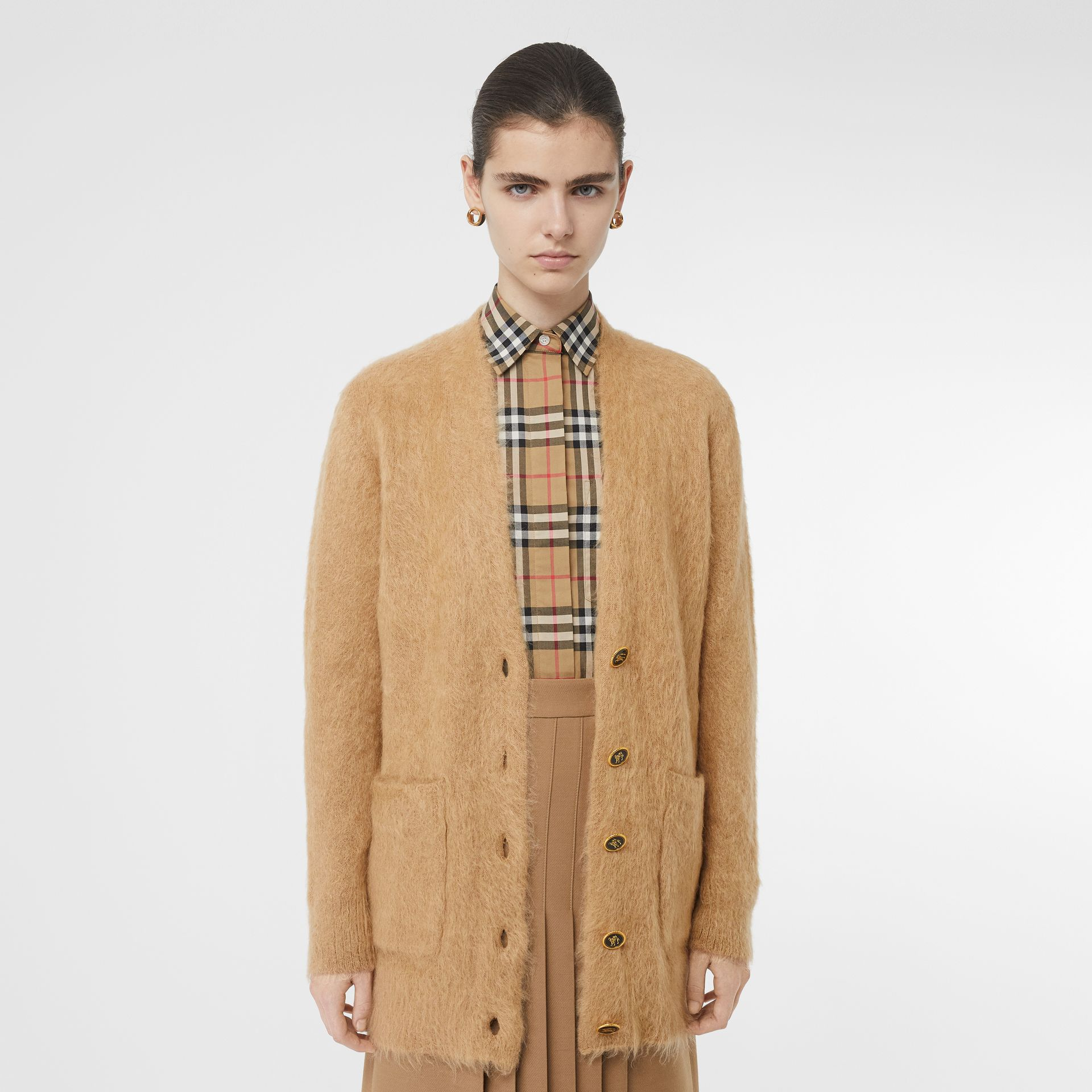 Silk Mohair Wool Blend V-neck Cardigan in Light Camel - Women | Burberry - gallery image 6
