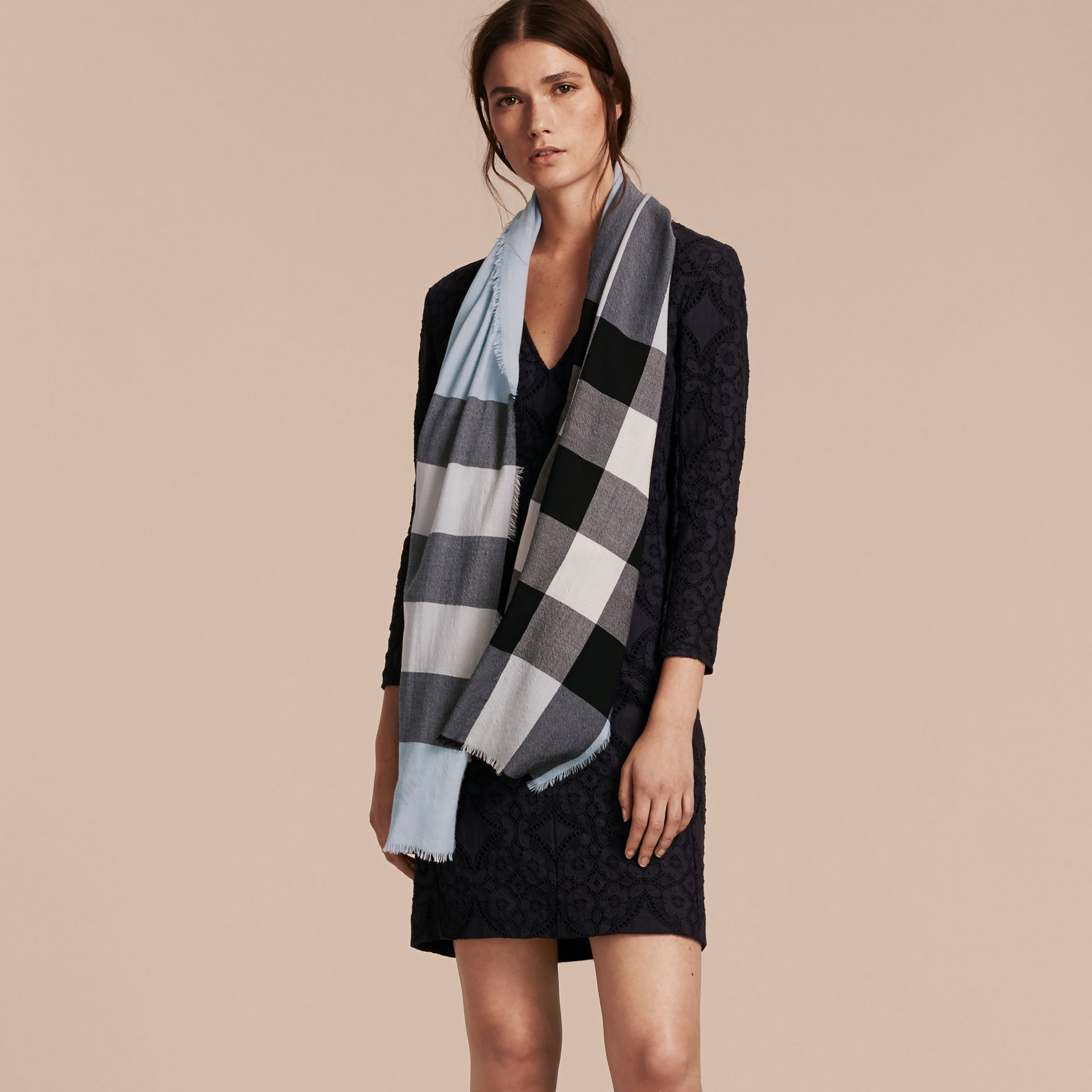 The Lightweight Cashmere Scarf in Check Dusty Blue - gallery image 3