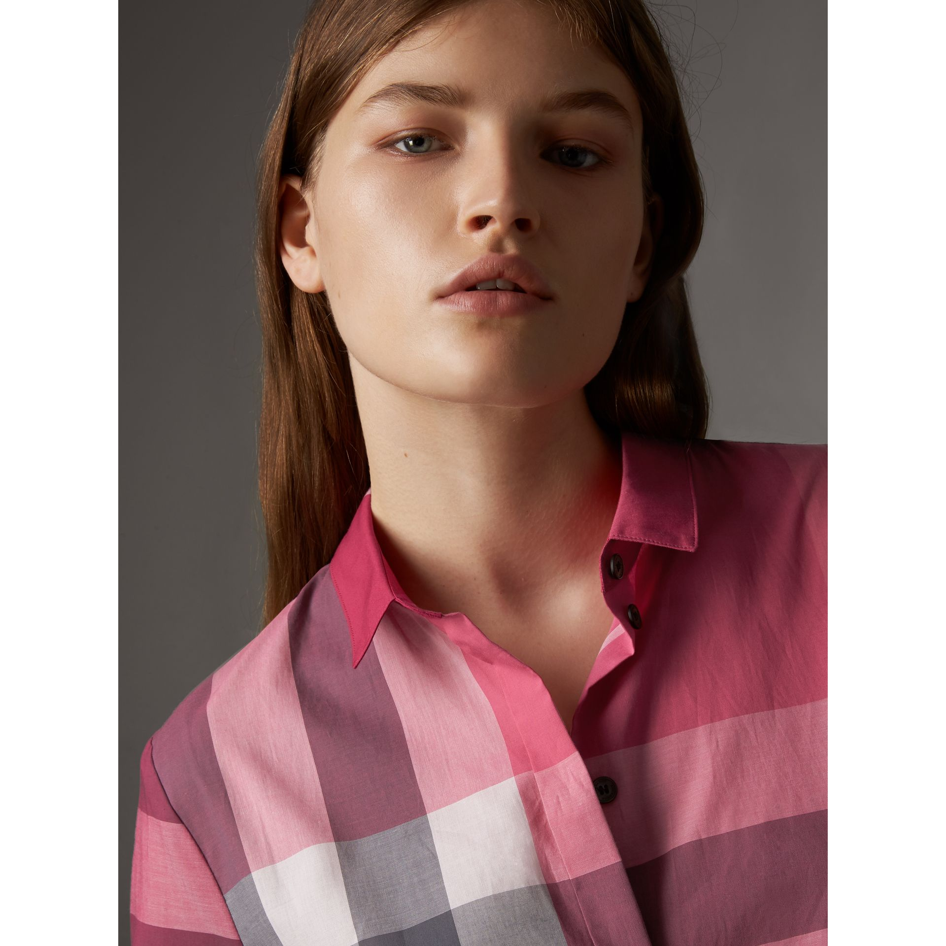 Check Cotton Shirt in Crimson Pink - Women | Burberry - gallery image 2