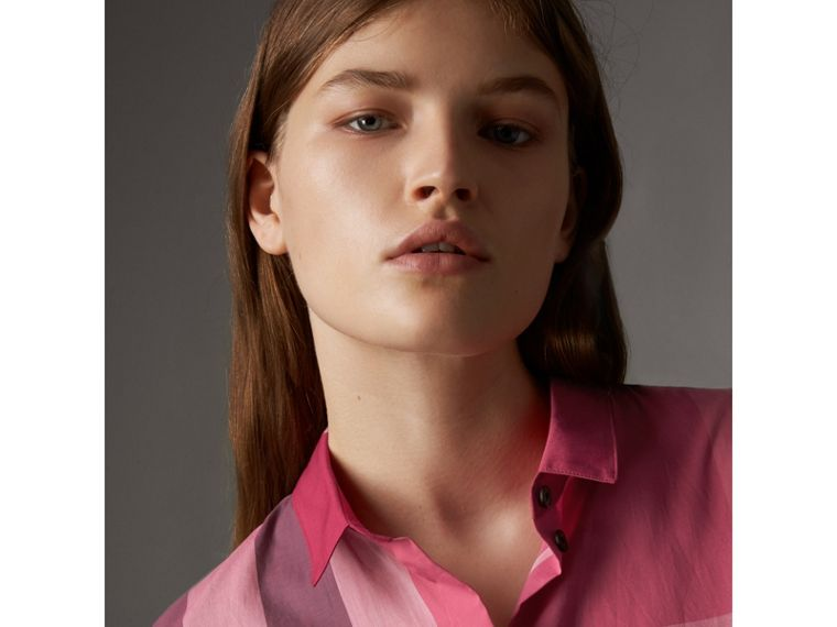 Check Cotton Shirt in Crimson Pink - Women | Burberry - cell image 1