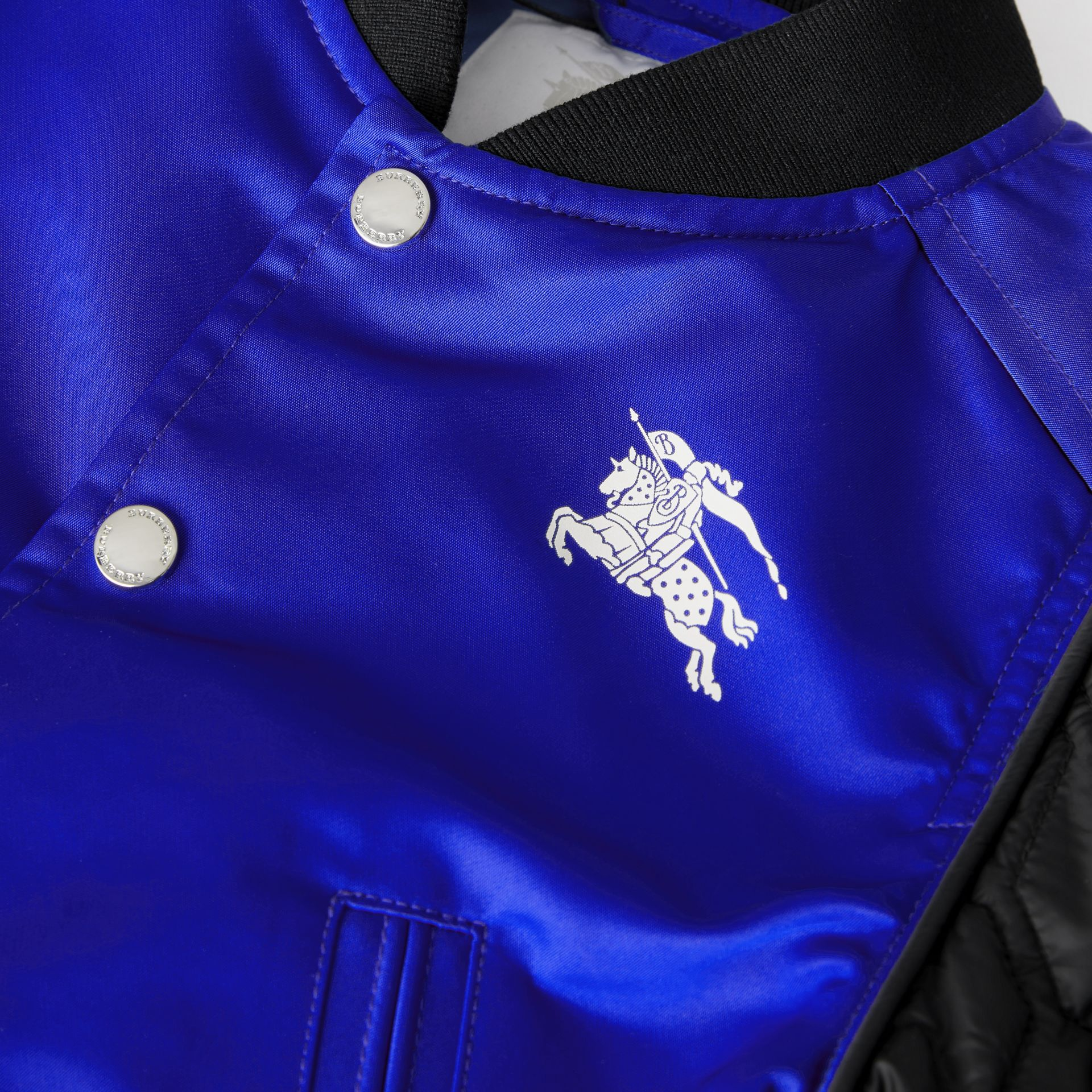 Contrast-sleeve Nylon Bomber Jacket in Bright Spectrum Blue | Burberry - gallery image 1
