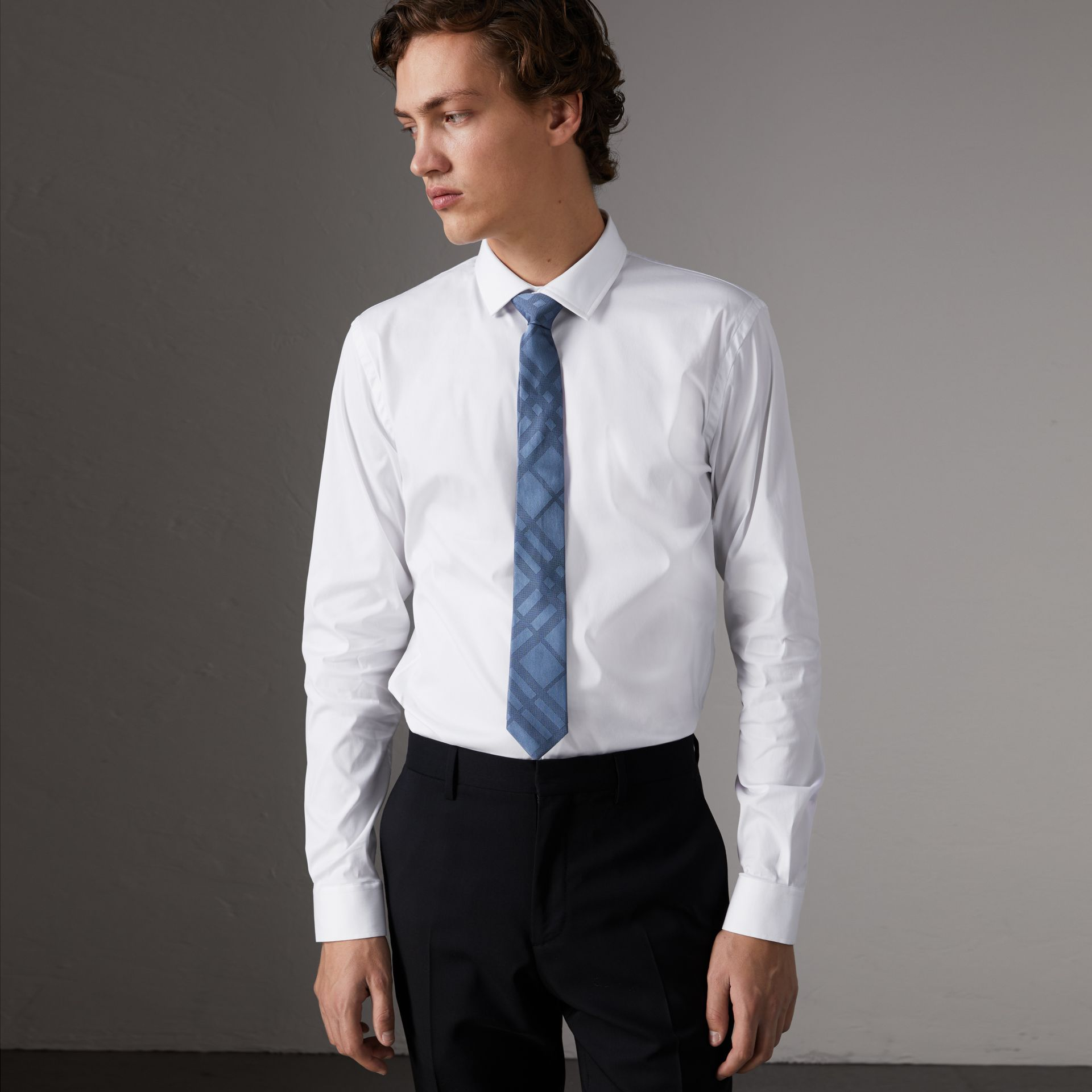 Slim Fit Stretch Cotton Poplin Shirt in White - Men | Burberry - gallery image 0