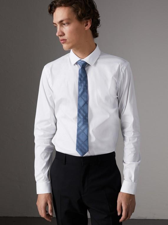 Camisa de corte ajustado en popelina de algodón elástico (Blanco)