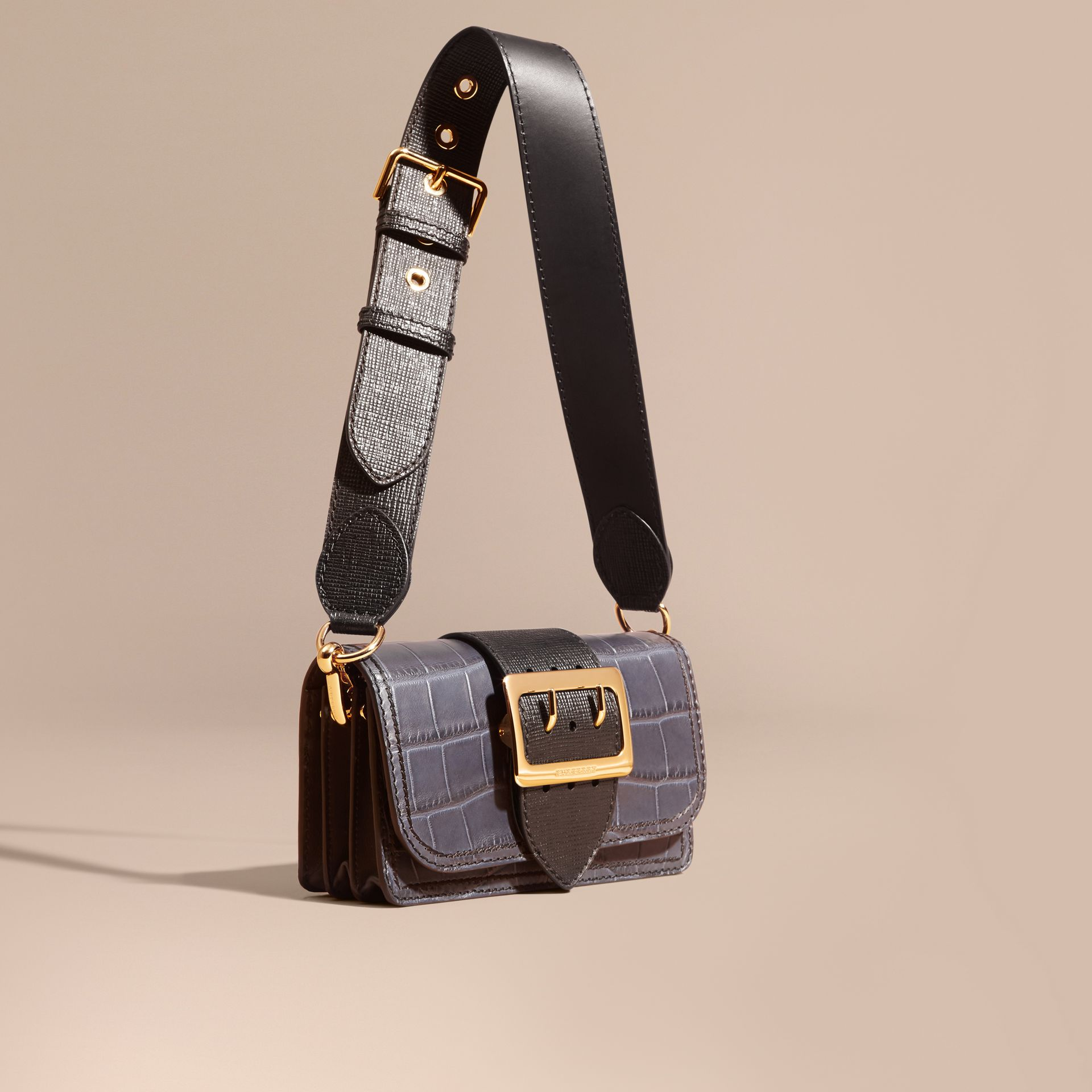 The Small Buckle Bag in Alligator and Leather in Navy / Black - Women | Burberry - gallery image 9