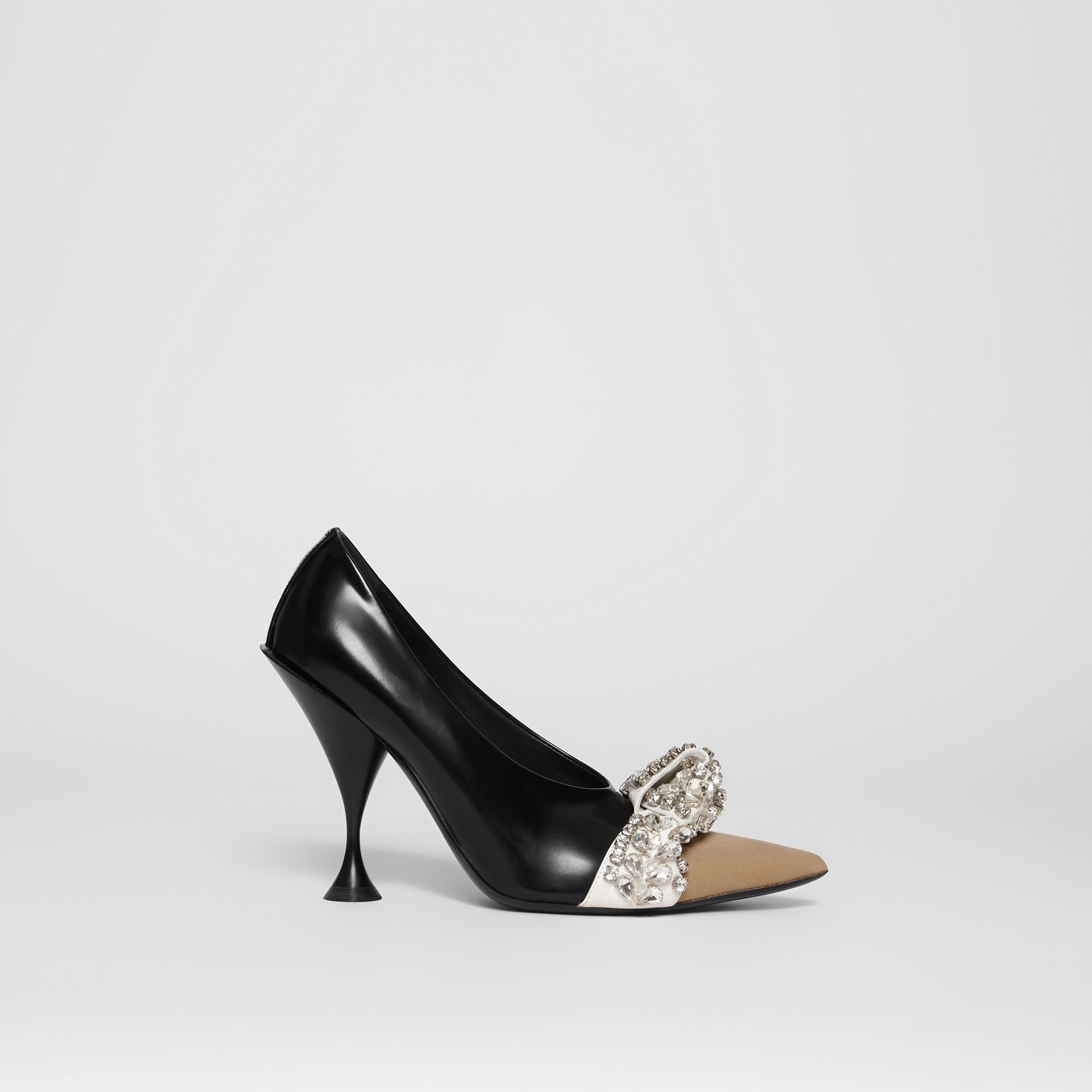 Crystal Detail Leather and Suede Point-toe Pumps in Black - Women | Burberry - gallery image 4