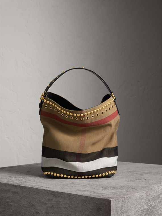 Sac The Ashby medium en toile Canvas check et cuir avec rivets - Femme | Burberry