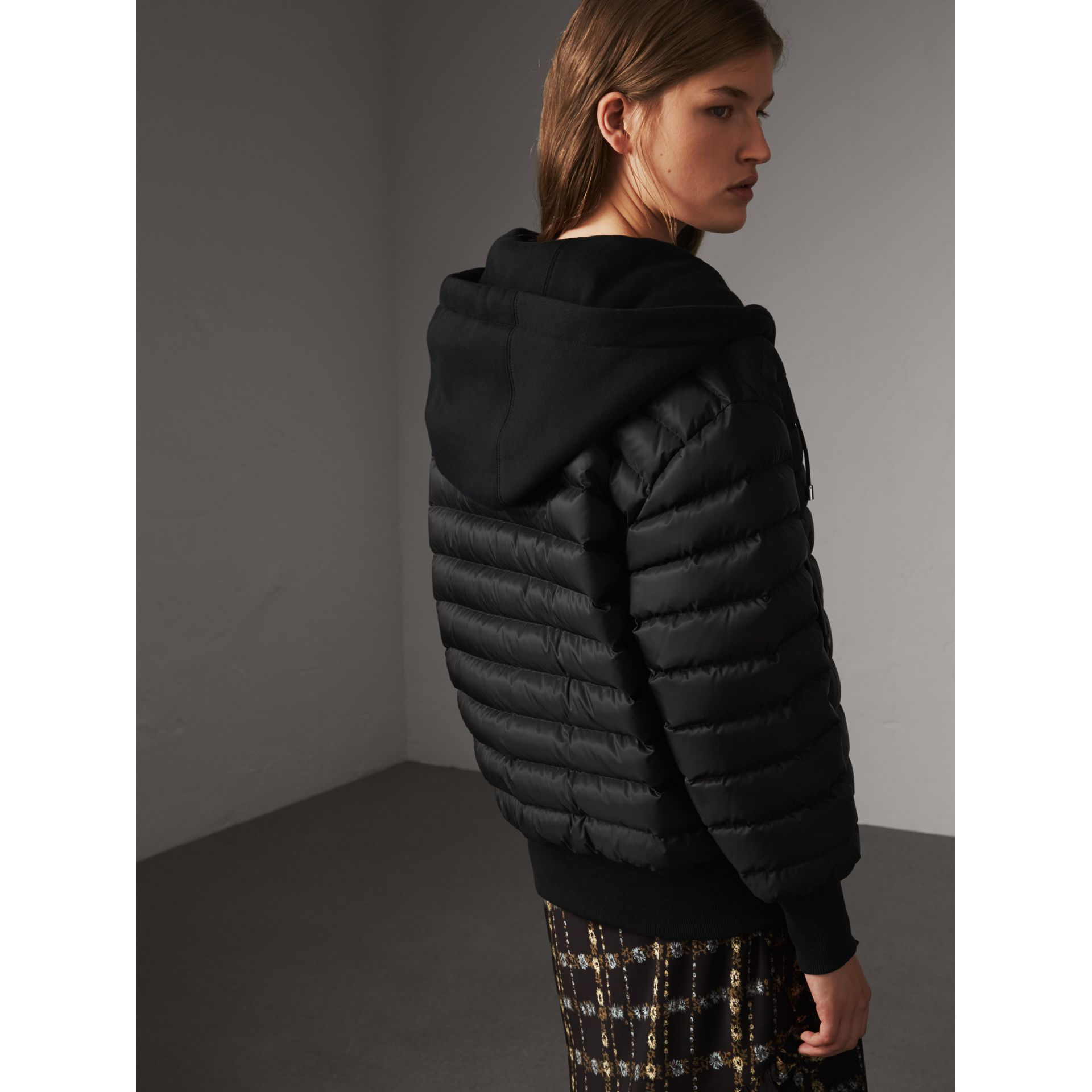 Reversible Down-filled Hooded Bomber Jacket in Black - Women | Burberry - gallery image 3