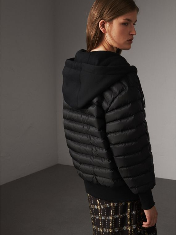 Reversible Down-filled Hooded Bomber Jacket in Black - Women | Burberry Australia - cell image 2