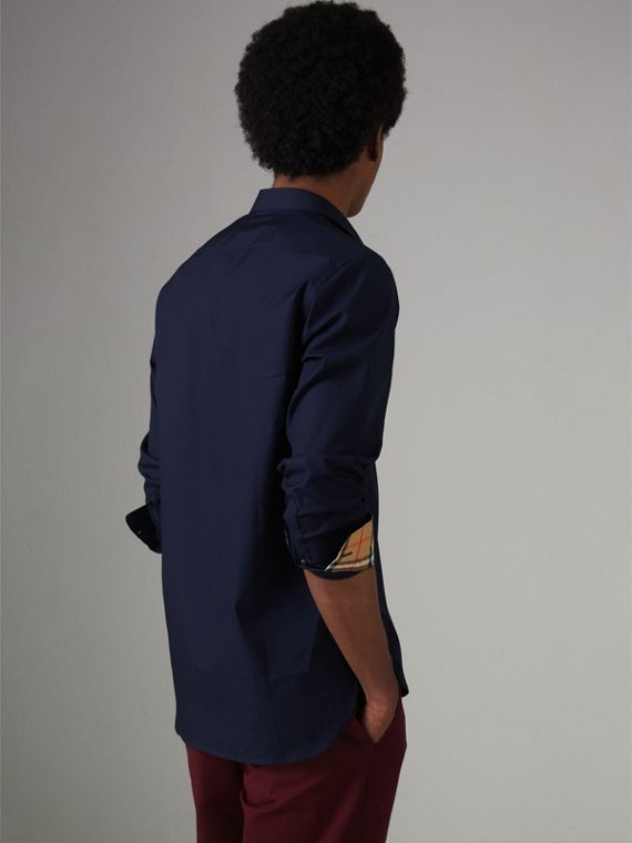 Check Cuff Stretch Cotton Poplin Shirt in Navy - Men | Burberry United Kingdom - cell image 2