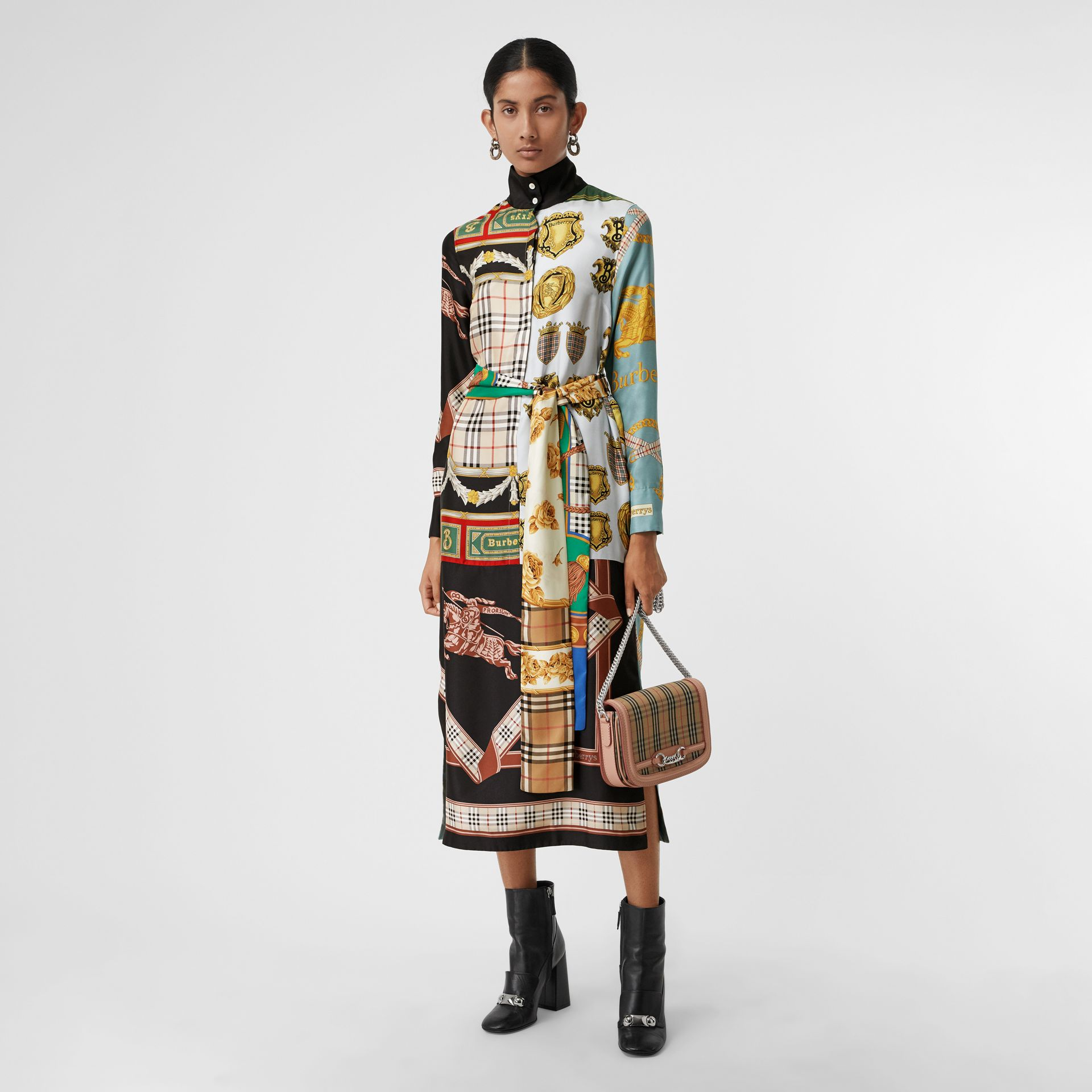 Archive Scarf Print Silk Dress in Antique Yellow - Women | Burberry - gallery image 0