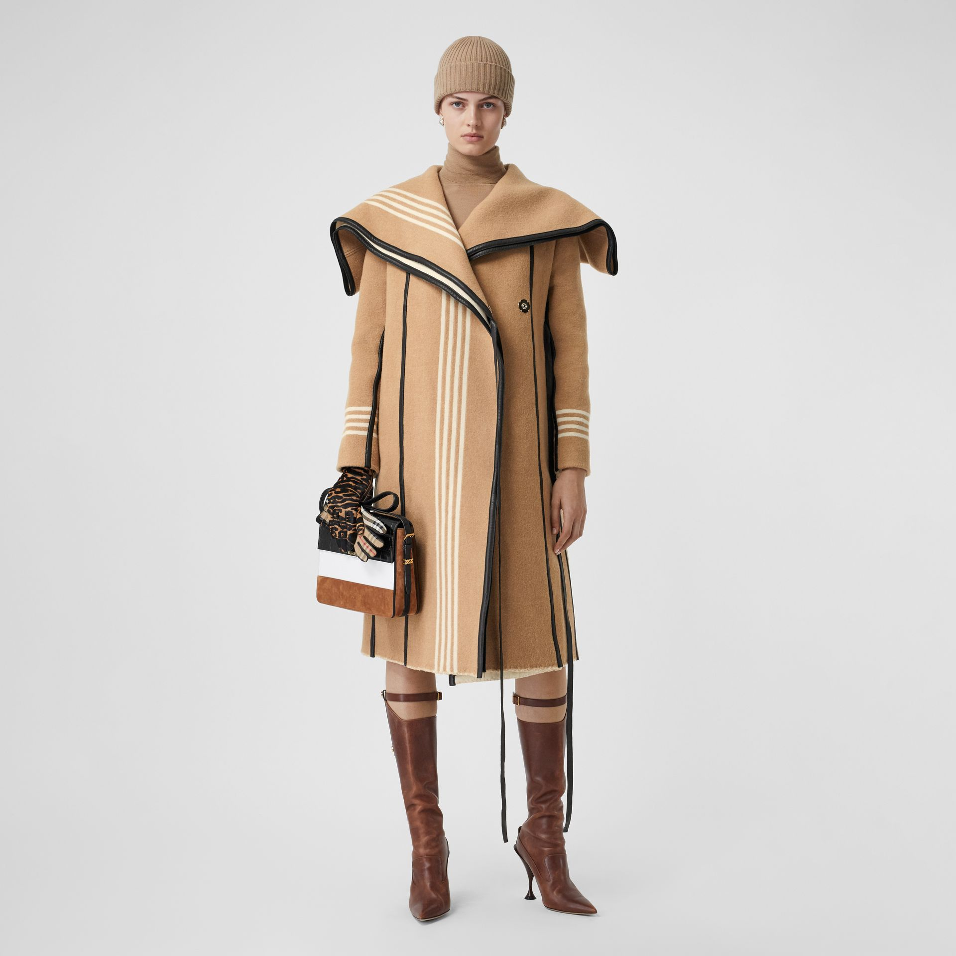 Lambskin Trim Striped Wool Wrap Coat in Camel - Women | Burberry - gallery image 0