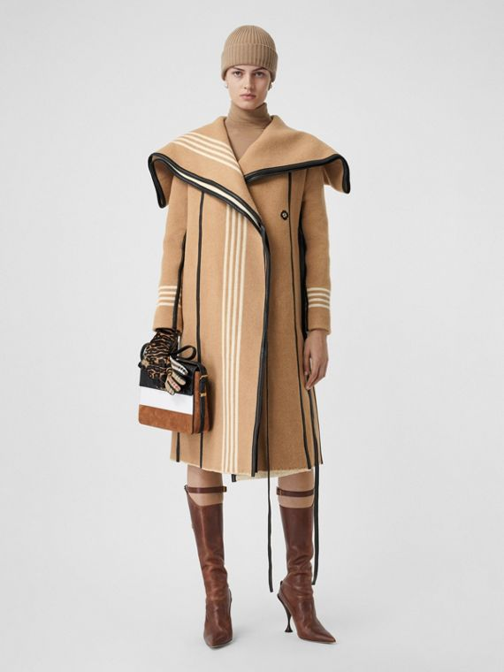 Lambskin Trim Striped Wool Wrap Coat in Camel