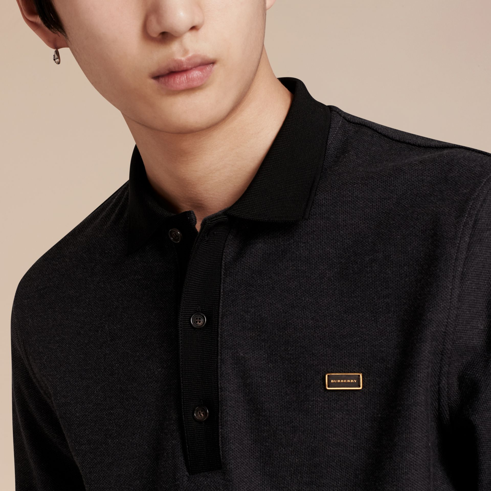 Charcoal/black Long-sleeved Cotton Piqué Polo Shirt Charcoal/black - gallery image 5