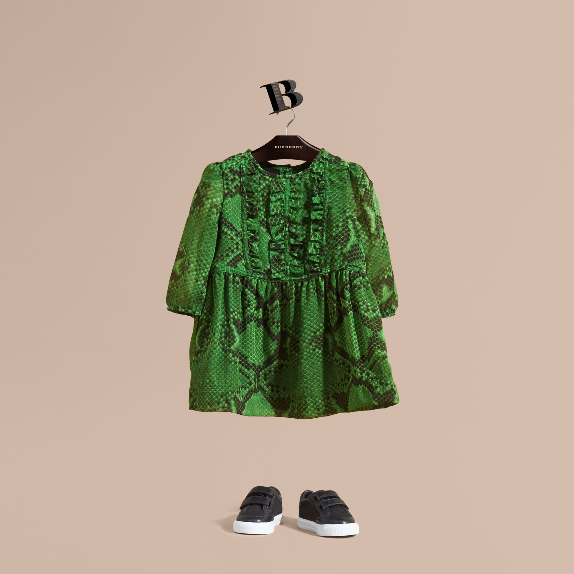 Bright green Python Print Ruffle-bib Silk Dress - gallery image 1