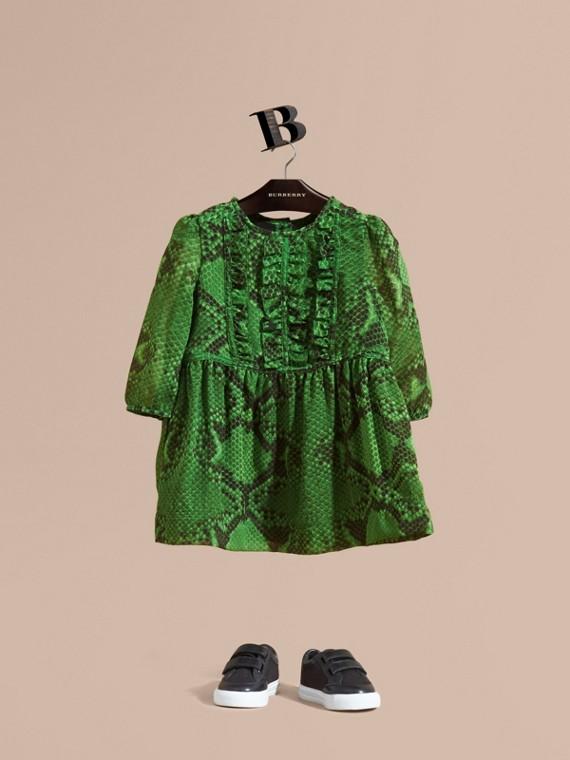 Python Print Ruffle-bib Silk Dress