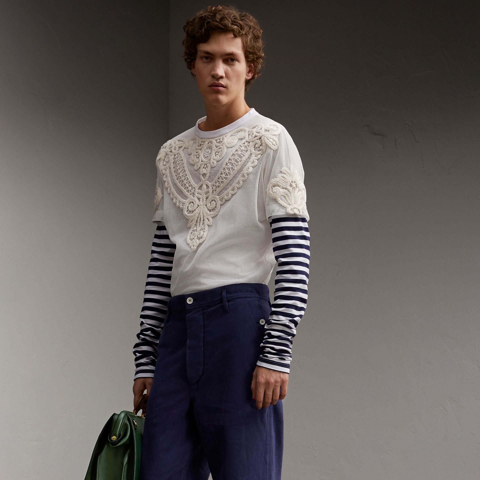 Breton Stripe-sleeve Lace Tulle Overlay Cotton Top - Men | Burberry - gallery image 1