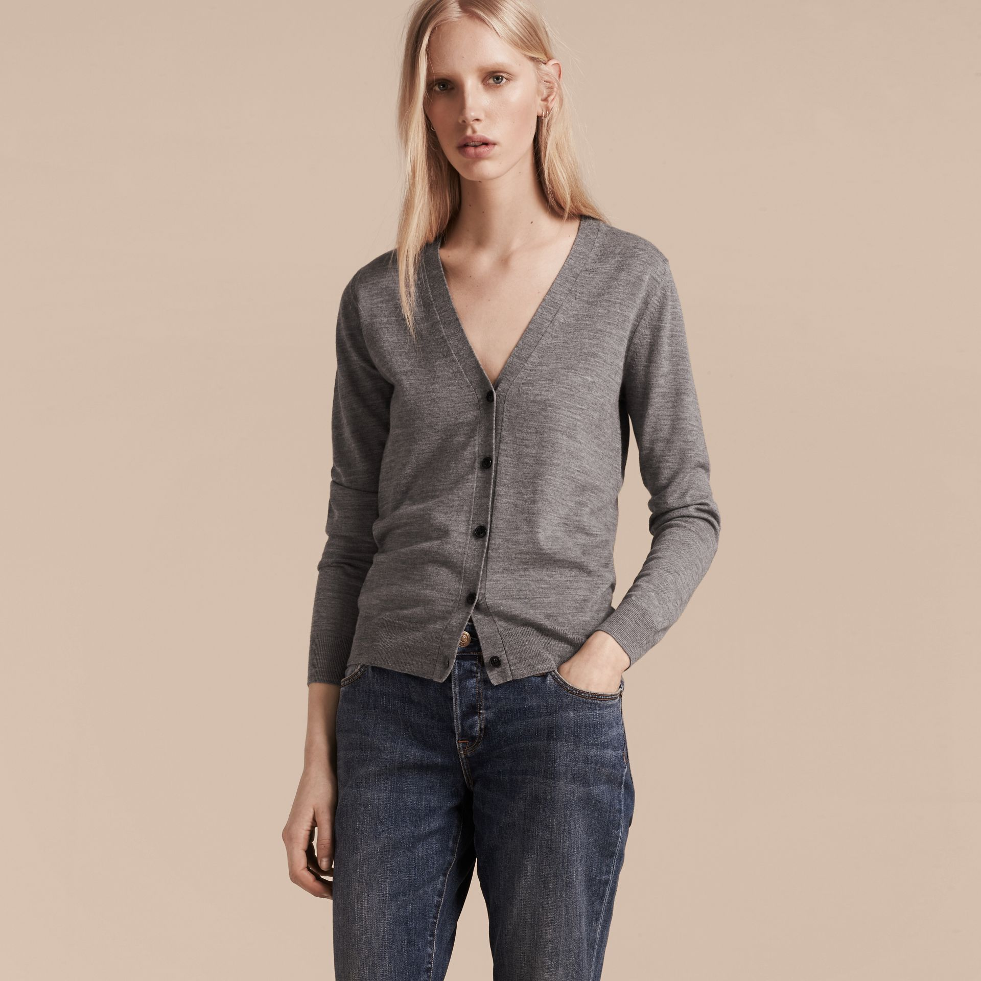 Check Detail Merino Wool Cardigan in Mid Grey Melange - Women | Burberry Canada - gallery image 3