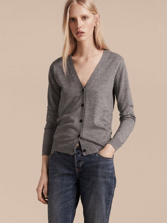 Check Detail Merino Wool Cardigan in Mid Grey Melange - cell image 2