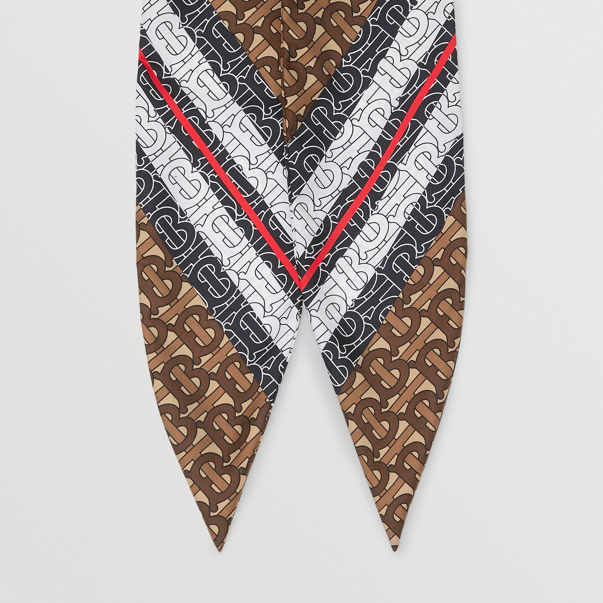 Monogram Stripe Print Silk Hair Scarf - Women | Burberry - gallery image 3