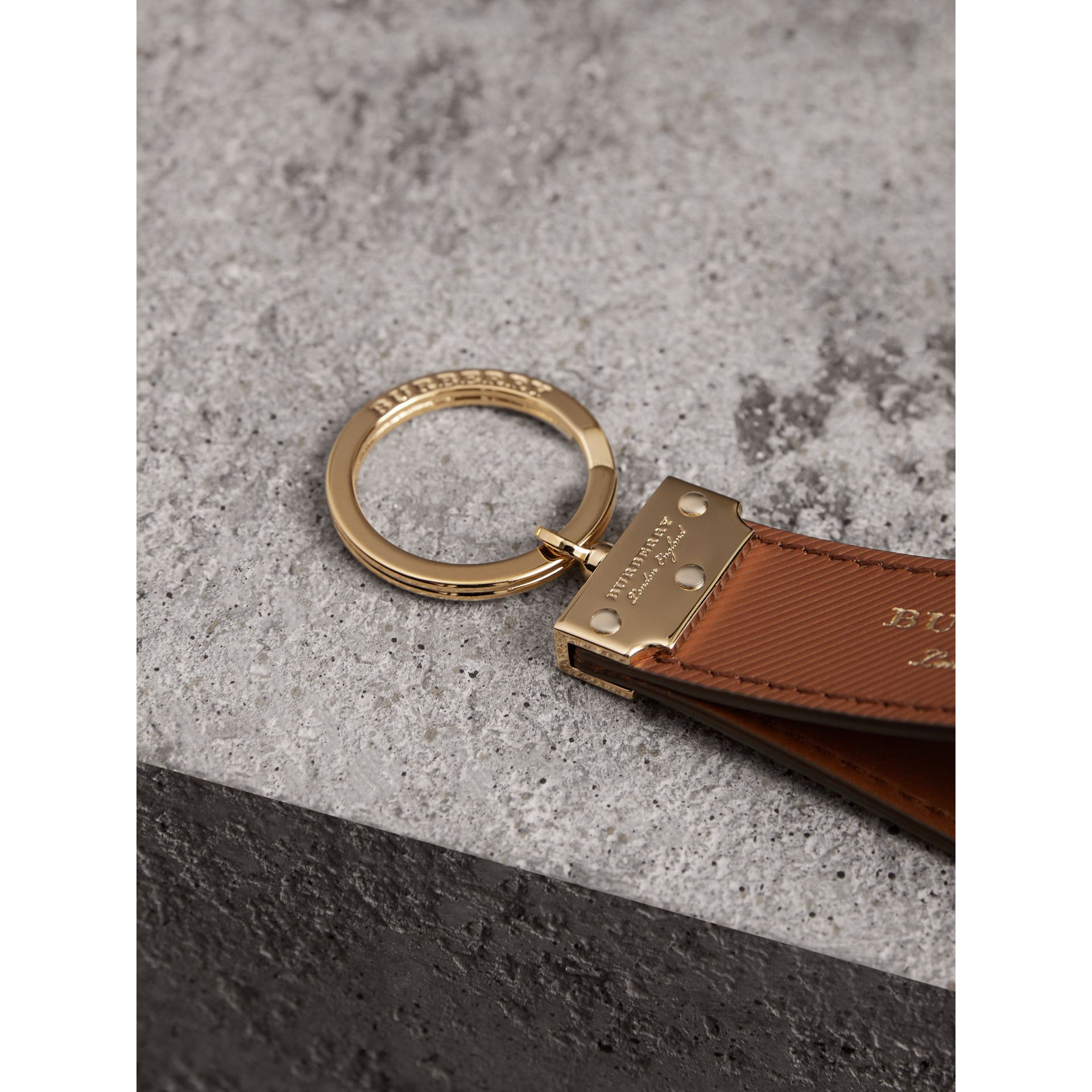 Trench Leather Key Ring in Tan | Burberry - gallery image 1